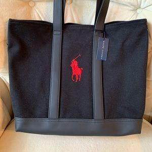 **RALPH LAUREN** Black and Red Logo Tote